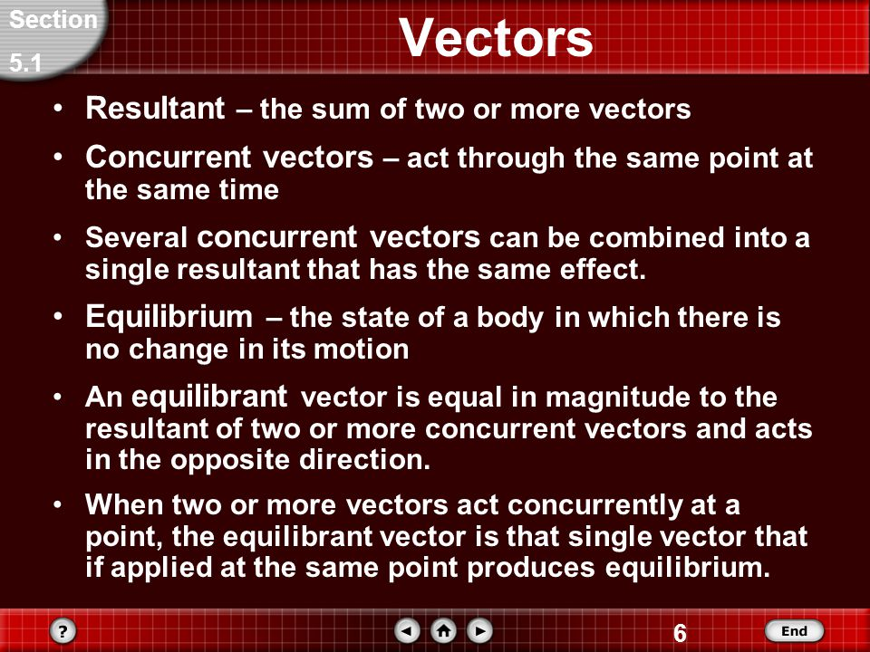 6 Vectors Resultant – the sum of two or more vectors Concurrent vectors – act through the same point at the same time Several concurrent vectors can be combined into a single resultant that has the same effect.