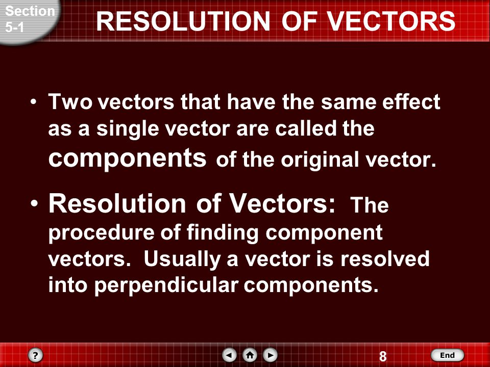 8 RESOLUTION OF VECTORS Two vectors that have the same effect as a single vector are called the components of the original vector.