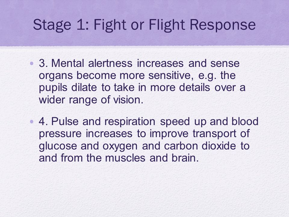 Stage 1: Fight or Flight Response 3. Mental alertness increases and sense organs become more sensitive, e.g. the pupils dilate to take in more details