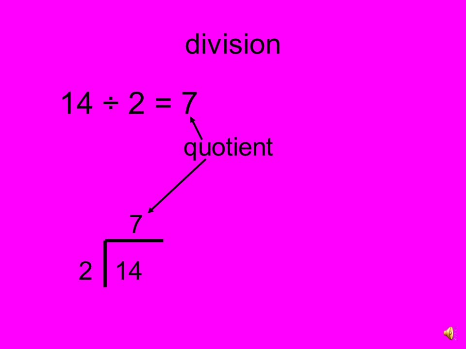 division 20 ÷ 4 = 5 Twenty divided by four equals five. 64 ÷ 8 = 8 Sixty-four divided by eight equals eight.