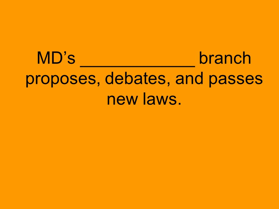 MD's ____________ branch proposes, debates, and passes new laws.