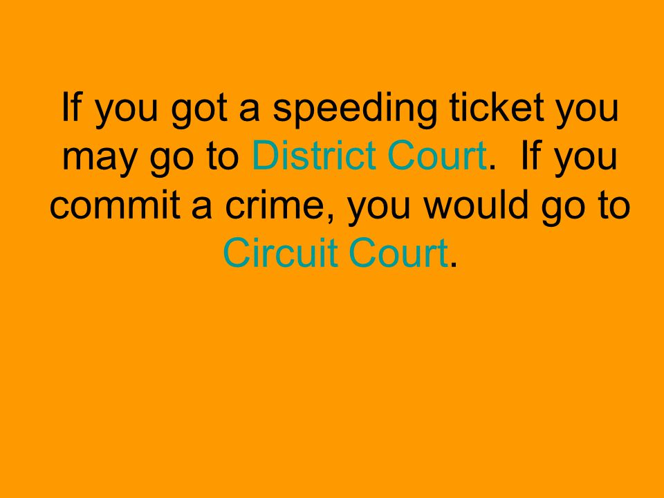 If you got a speeding ticket you may go to District Court.