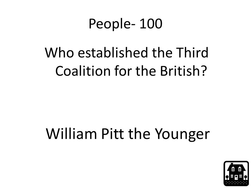 People- 100 Who established the Third Coalition for the British William Pitt the Younger
