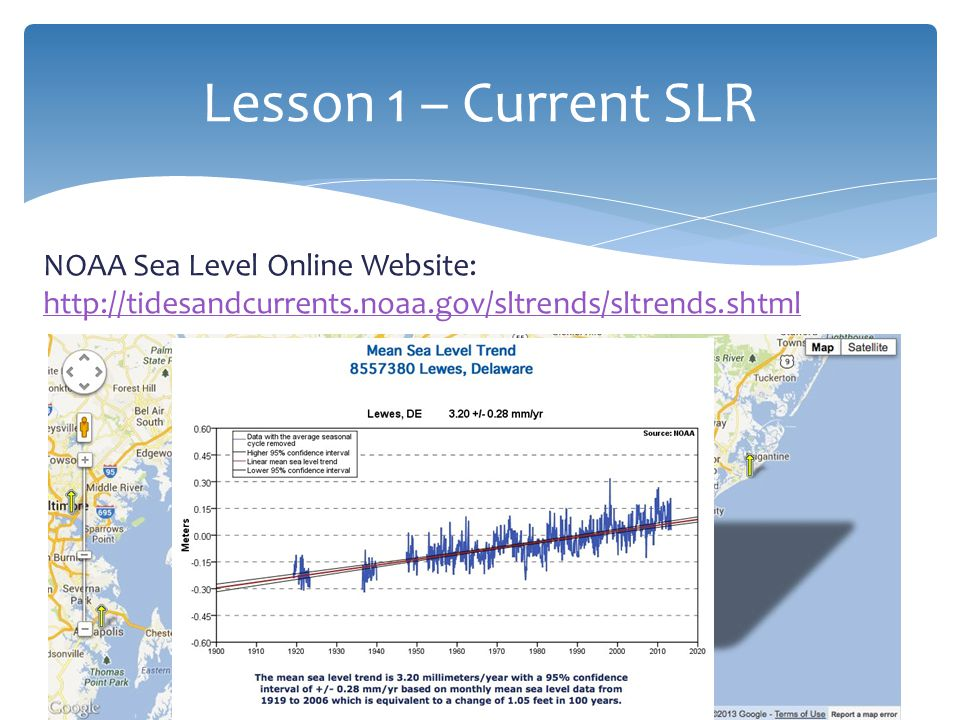 NOAA Sea Level Online Website: http://tidesandcurrents.noaa.gov/sltrends/sltrends.shtml http://tidesandcurrents.noaa.gov/sltrends/sltrends.shtml Lesson 1 – Current SLR 9