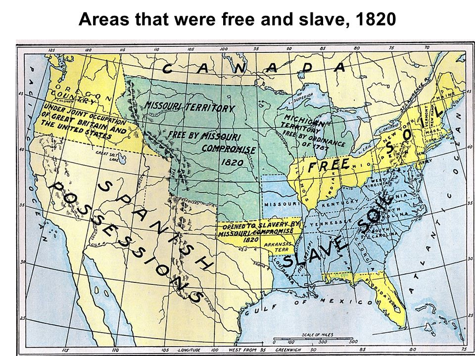 Areas that were free and slave, 1820