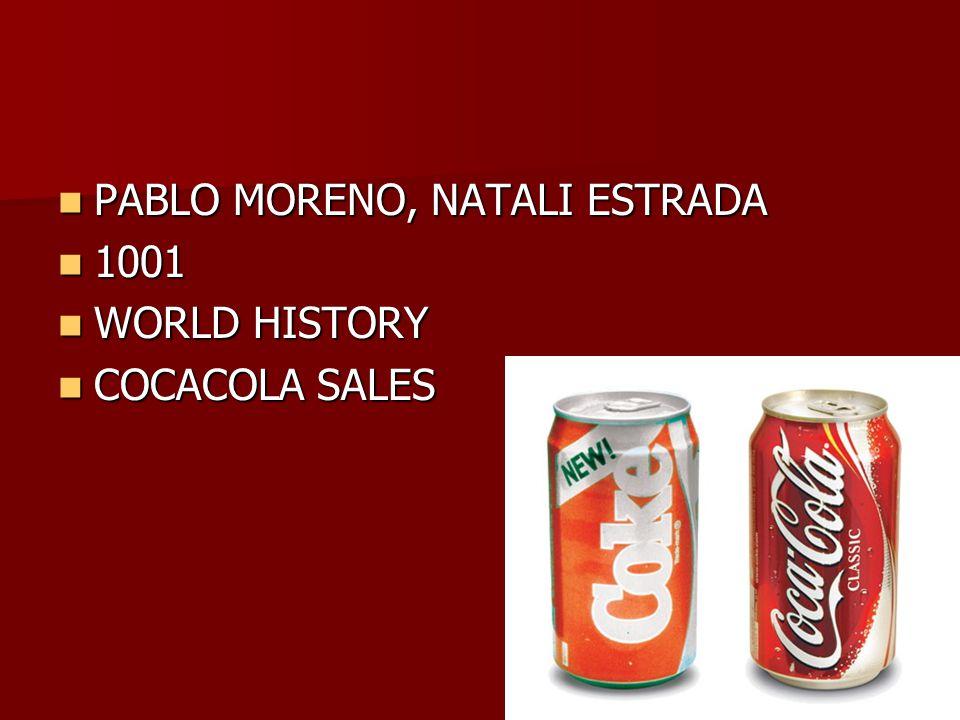 PABLO MORENO, NATALI ESTRADA PABLO MORENO, NATALI ESTRADA 1001 1001 WORLD HISTORY WORLD HISTORY COCACOLA SALES COCACOLA SALES