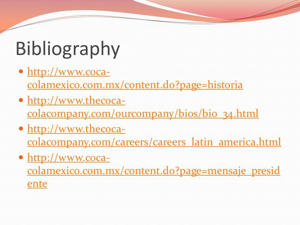 Bibliography http://www.coca- colamexico.com.mx/content.do page=historia http://www.coca- colamexico.com.mx/content.do page=historia http://www.thecoca- colacompany.com/ourcompany/bios/bio_34.html http://www.thecoca- colacompany.com/ourcompany/bios/bio_34.html http://www.thecoca- colacompany.com/careers/careers_latin_america.html http://www.thecoca- colacompany.com/careers/careers_latin_america.html http://www.coca- colamexico.com.mx/content.do page=mensaje_presid ente http://www.coca- colamexico.com.mx/content.do page=mensaje_presid ente
