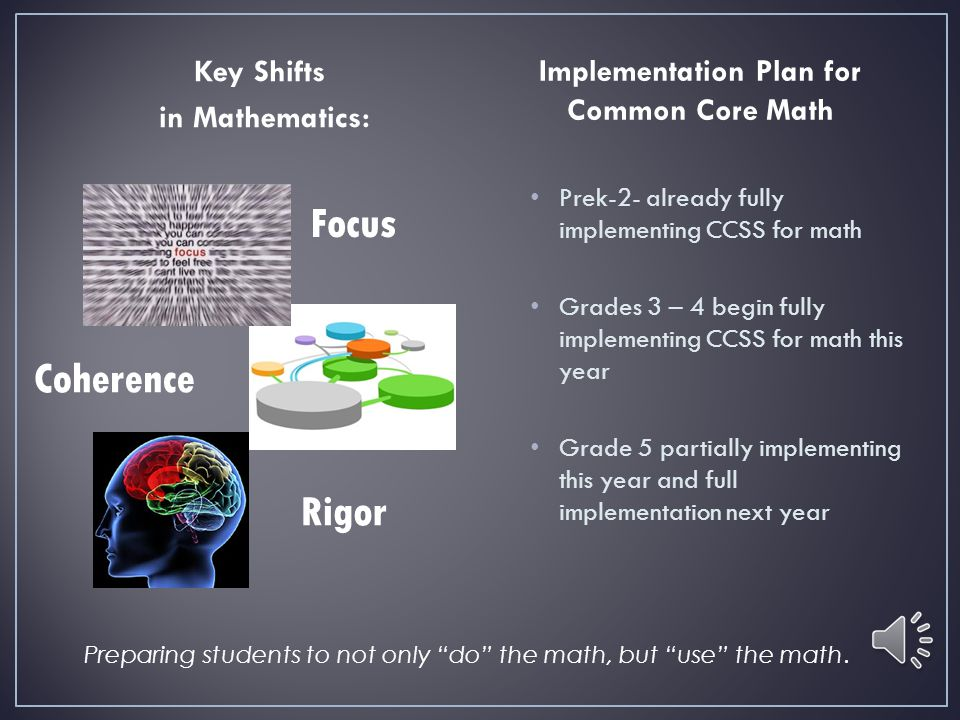 Key Shifts in Mathematics: Implementation Plan for Common Core Math Prek-2- already fully implementing CCSS for math Grades 3 – 4 begin fully implementing CCSS for math this year Grade 5 partially implementing this year and full implementation next year Preparing students to not only do the math, but use the math.