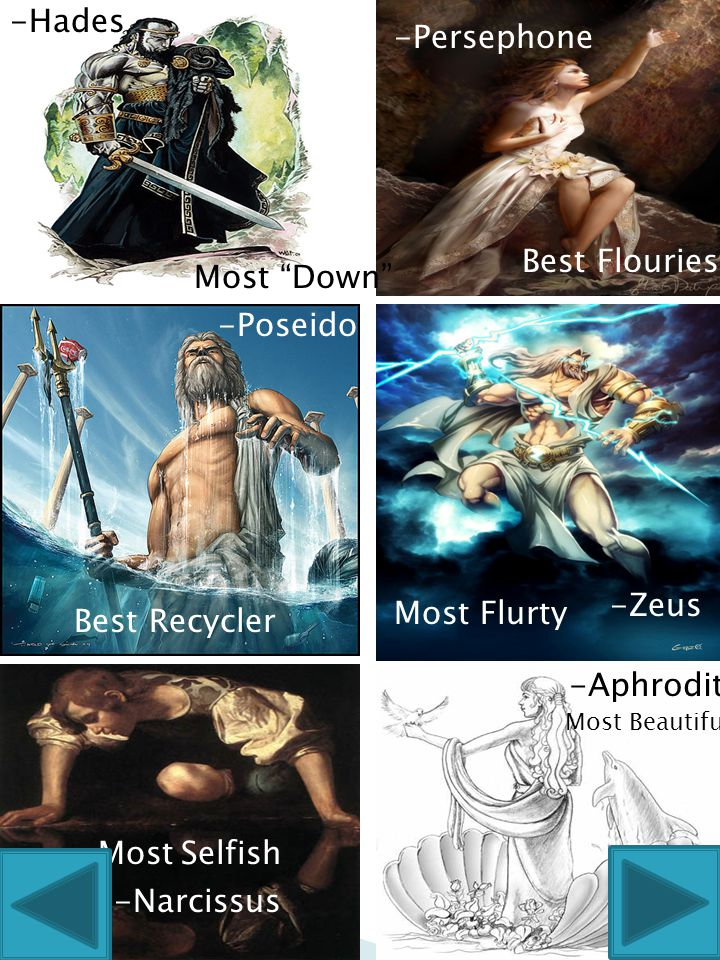 Best Recycler Most Selfish -Narcissus -Poseidon -Aphrodite Most Beautiful Most Flurty -Zeus -Persephone -Hades Most Down Best Flouriest