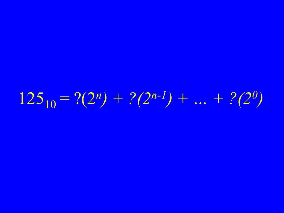 125 10 = ?(2 n ) + ?(2 n-1 ) + … + ?(2 0 )