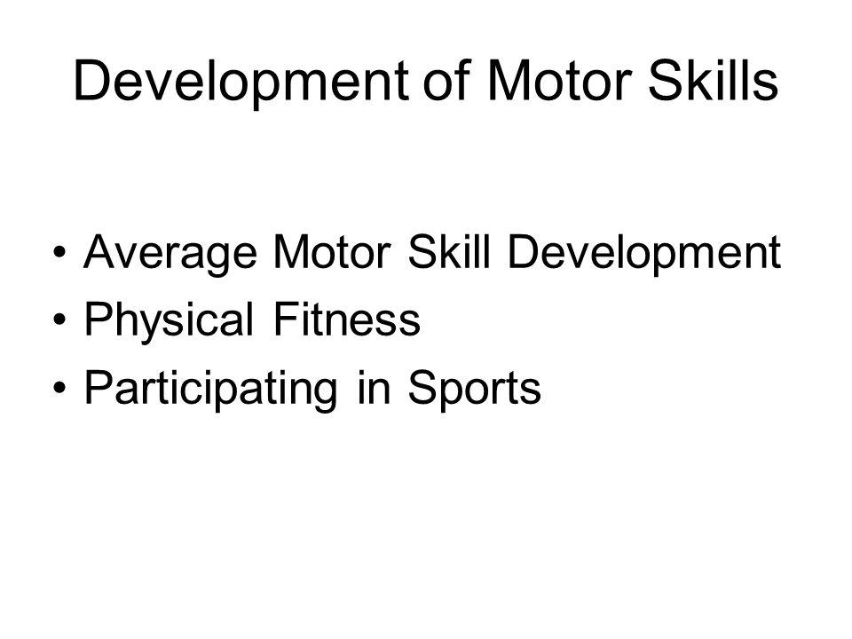 Development of Motor Skills Average Motor Skill Development Physical Fitness Participating in Sports