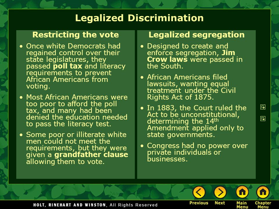Legalized Discrimination Restricting the vote Once white Democrats had regained control over their state legislatures, they passed poll tax and litera