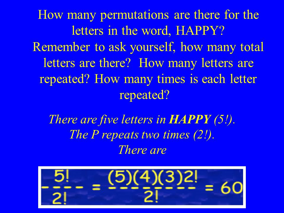 How many permutations are there for the letters in the word, HAPPY.