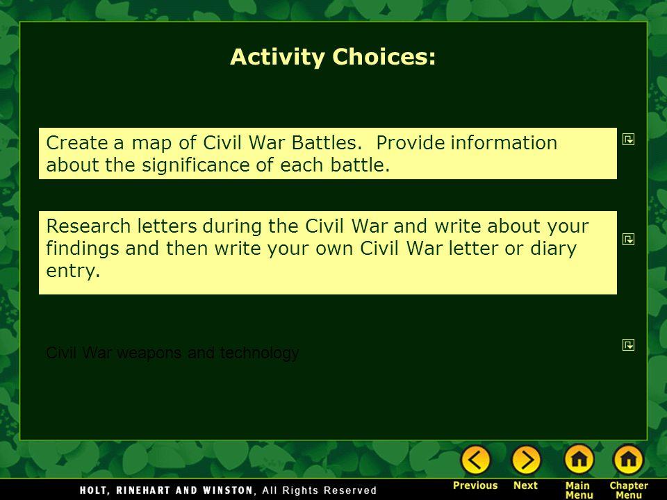 Activity Choices: Create a map of Civil War Battles.
