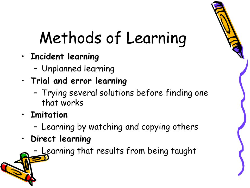 Methods of Learning Incident learning –Unplanned learning Trial and error learning –Trying several solutions before finding one that works Imitation –