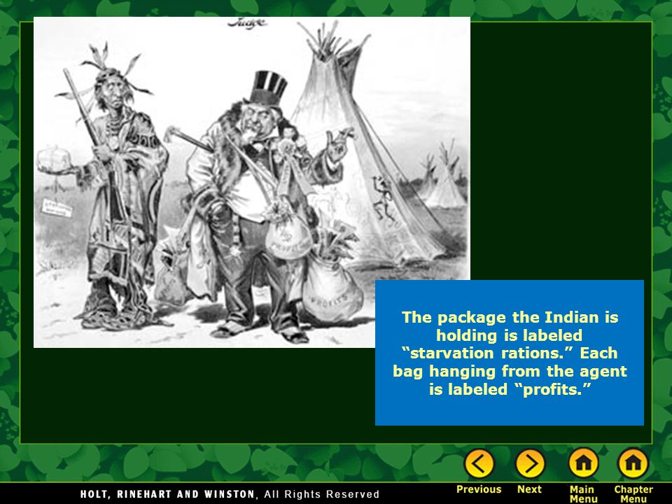 "The package the Indian is holding is labeled ""starvation rations."" Each bag hanging from the agent is labeled ""profits."""