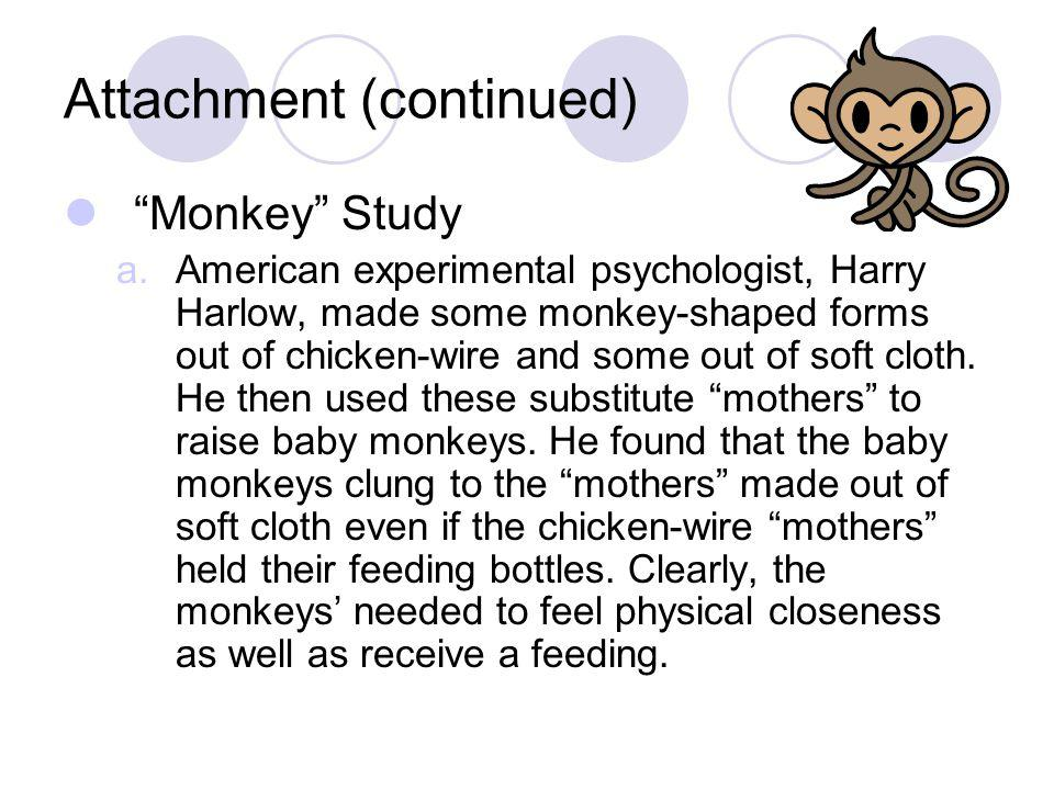 """Attachment (continued) """"Monkey"""" Study a.American experimental psychologist, Harry Harlow, made some monkey-shaped forms out of chicken-wire and some o"""