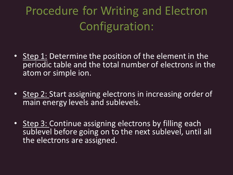 Procedure for Writing and Electron Configuration: Step 1: Determine the position of the element in the periodic table and the total number of electron