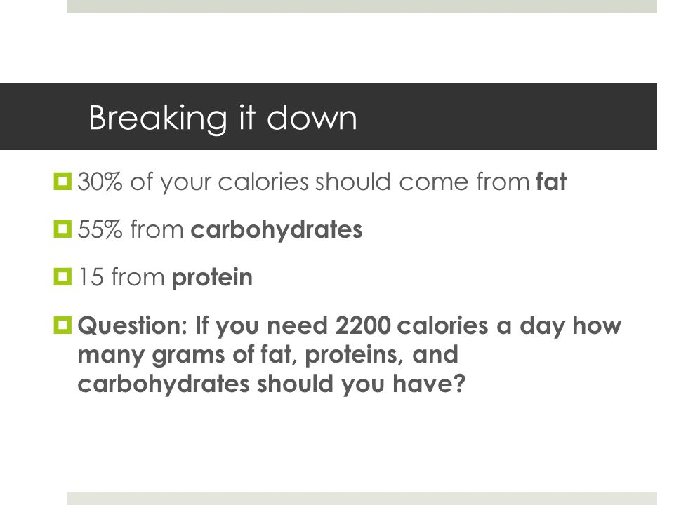Breaking it down  30% of your calories should come from fat  55% from carbohydrates  15 from protein  Question: If you need 2200 calories a day how many grams of fat, proteins, and carbohydrates should you have?