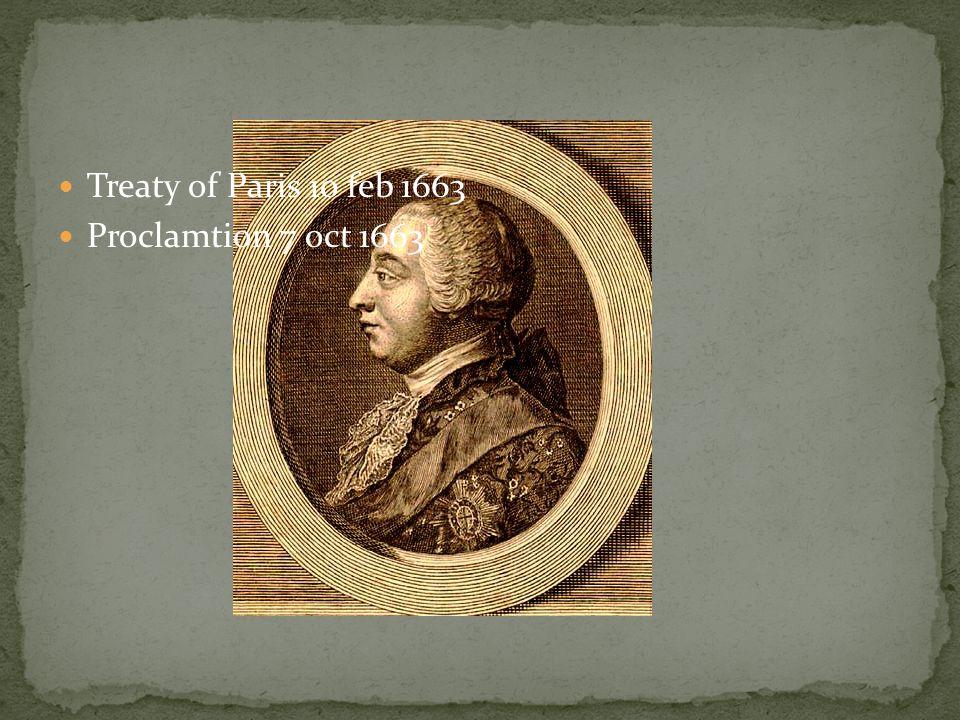 Treaty of Paris 10 feb 1663 Proclamtion 7 oct 1663
