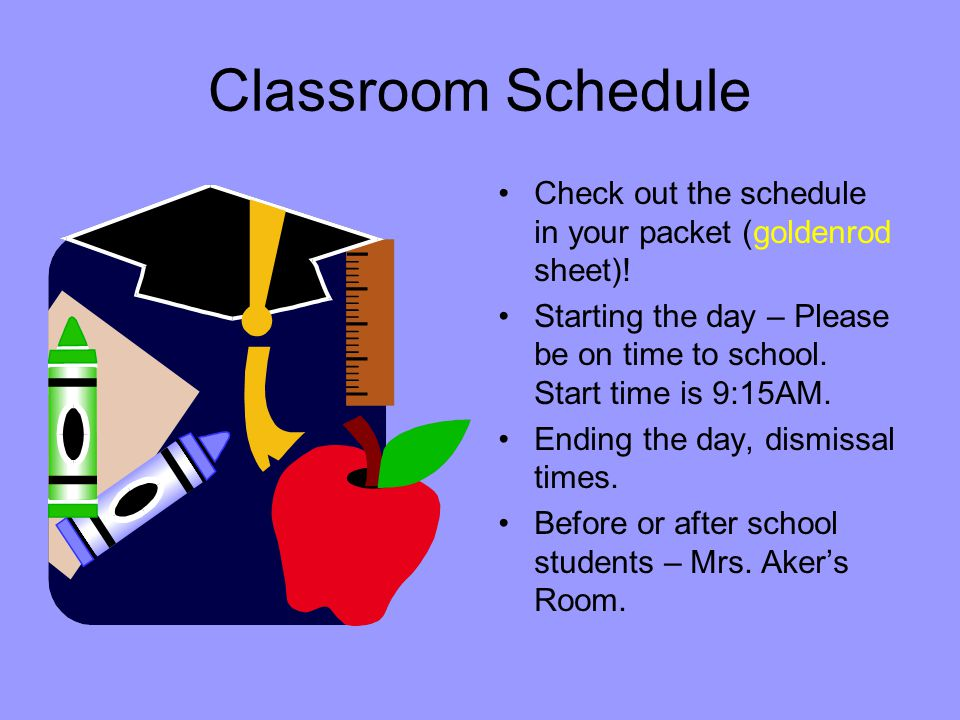 Classroom Schedule Check out the schedule in your packet (goldenrod sheet).