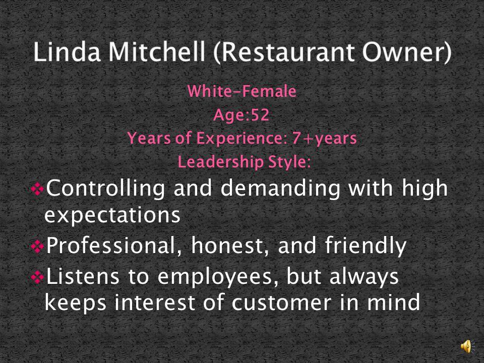 Linda Mitchell Restaurant- Owner Loretha Loretha Willis Pastor Derrick Derrick Lawson Produce Manager