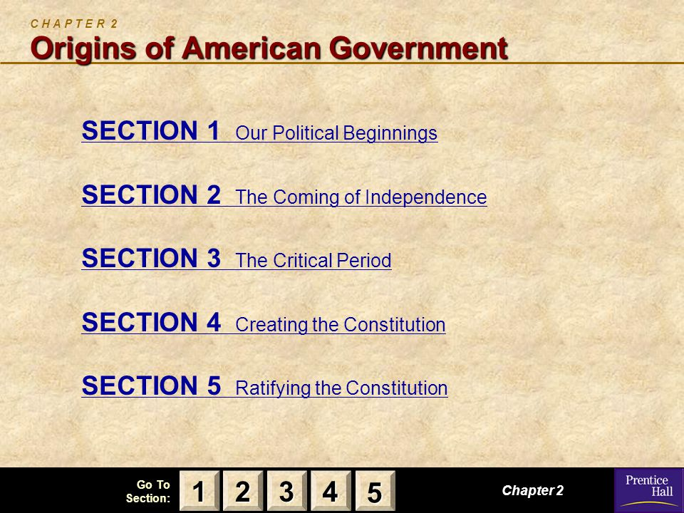 123 Go To Section: 4 5 Origins of American Government C H A P T E R 2 Origins of American Government SECTION 1 Our Political Beginnings SECTION 2 The