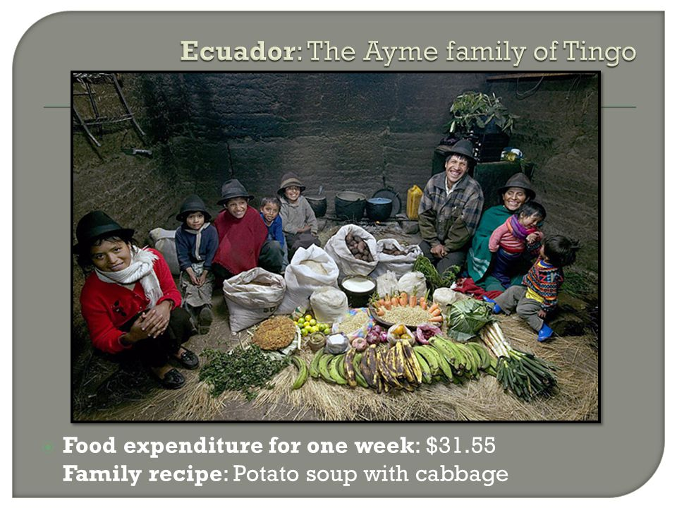 Food expenditure for one week: $31.55 Family recipe: Potato soup with cabbage