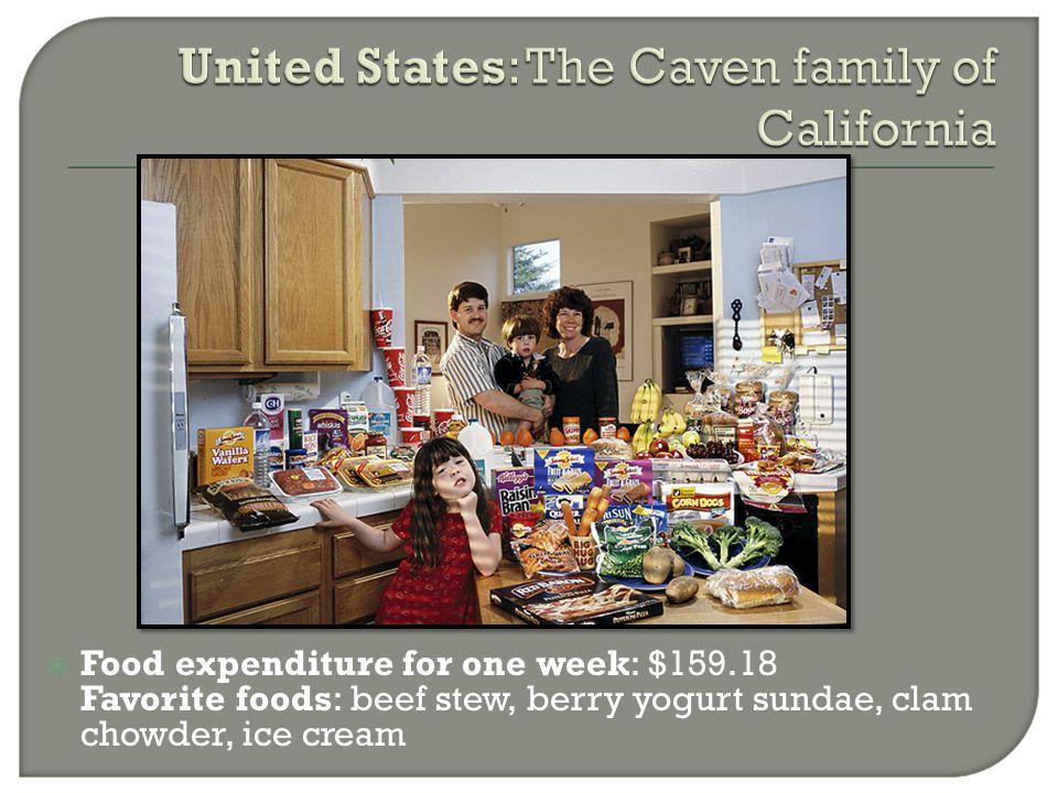  Food expenditure for one week: $159.18 Favorite foods: beef stew, berry yogurt sundae, clam chowder, ice cream