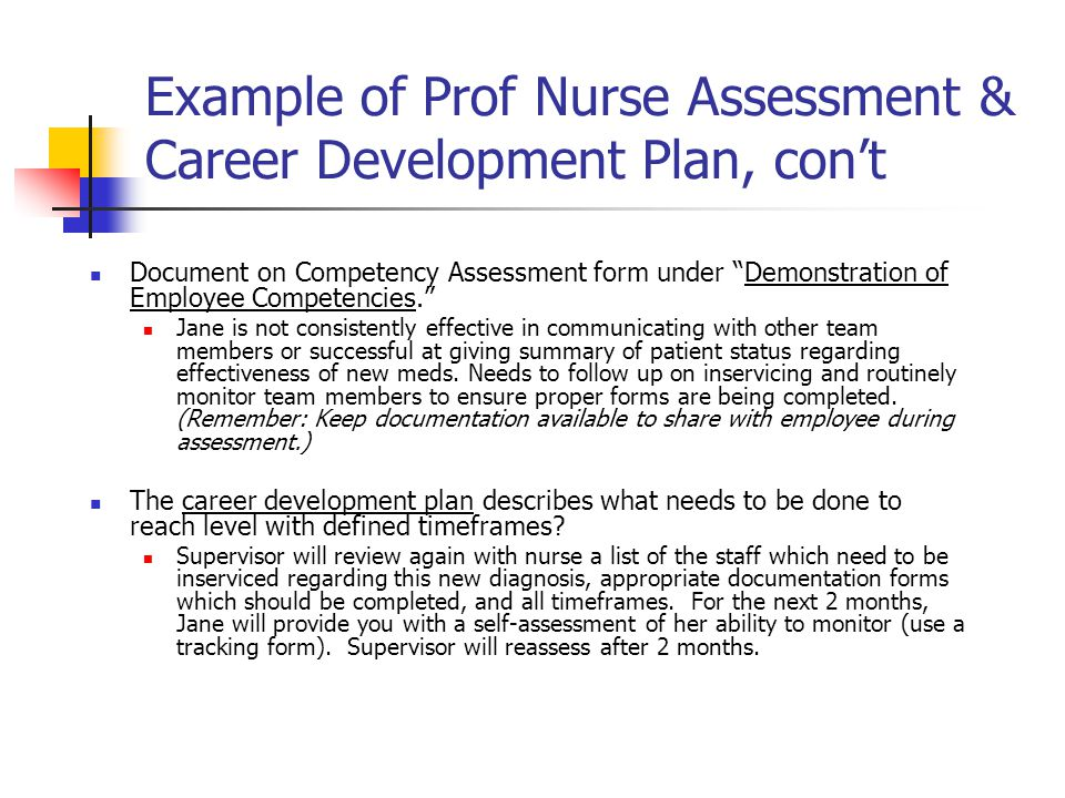 """Example of Prof Nurse Assessment & Career Development Plan, con't Document on Competency Assessment form under """"Demonstration of Employee Competencies"""