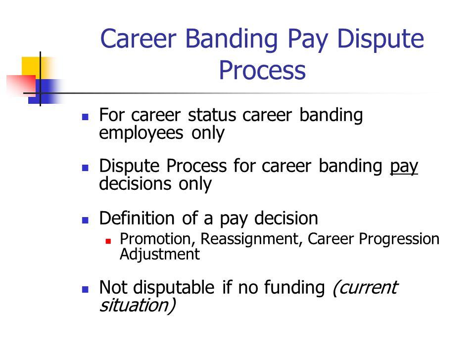 Career Banding Pay Dispute Process For career status career banding employees only Dispute Process for career banding pay decisions only Definition of