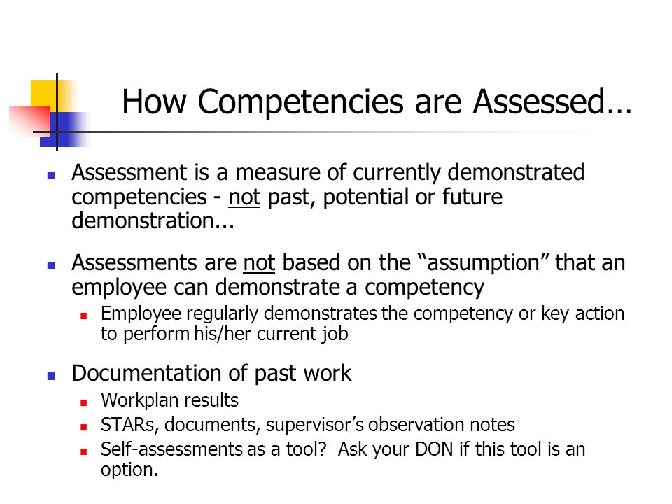 8 Step 1: Prepare for Assessment Look at position's defined competencies to see what is required for position Pull together documentation to aid in determining whether competencies have been demonstrated (work plans, clinical performance/aspects evaluations, supervisor observation, STARS, external feedback, etc.) Refer to the competency profiles for C, J, A.