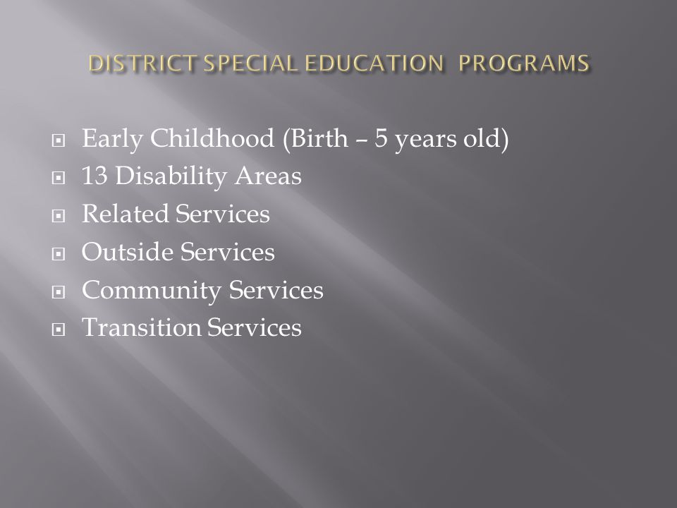 Early Childhood (Birth – 5 years old)  13 Disability Areas  Related Services  Outside Services  Community Services  Transition Services