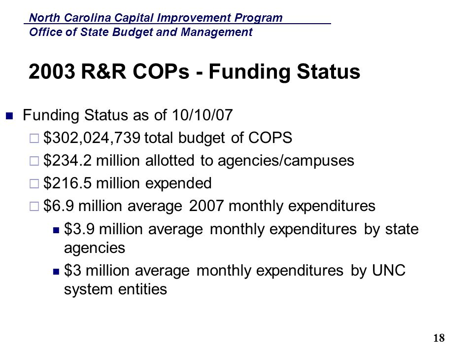 North Carolina Capital Improvement Program Office of State Budget and Management 18 2003 R&R COPs - Funding Status Funding Status as of 10/10/07  $302,024,739 total budget of COPS  $234.2 million allotted to agencies/campuses  $216.5 million expended  $6.9 million average 2007 monthly expenditures $3.9 million average monthly expenditures by state agencies $3 million average monthly expenditures by UNC system entities