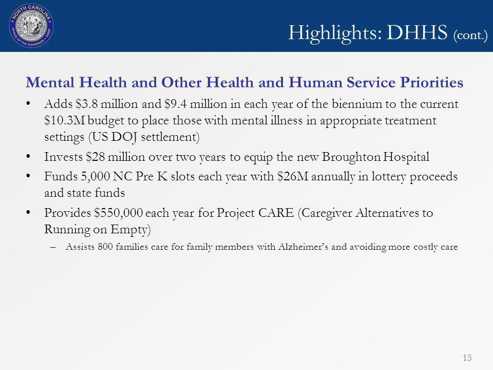 15 Highlights: DHHS (cont.) Mental Health and Other Health and Human Service Priorities Adds $3.8 million and $9.4 million in each year of the biennium to the current $10.3M budget to place those with mental illness in appropriate treatment settings (US DOJ settlement) Invests $28 million over two years to equip the new Broughton Hospital Funds 5,000 NC Pre K slots each year with $26M annually in lottery proceeds and state funds Provides $550,000 each year for Project CARE (Caregiver Alternatives to Running on Empty) –Assists 800 families care for family members with Alzheimer's and avoiding more costly care 15