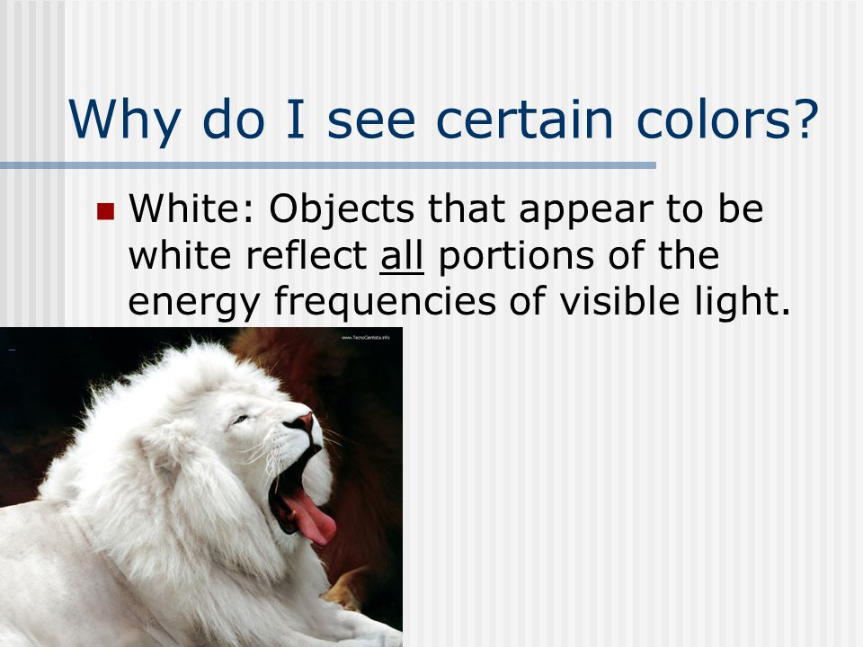 Why do I see certain colors? White: Objects that appear to be white reflect all portions of the energy frequencies of visible light.