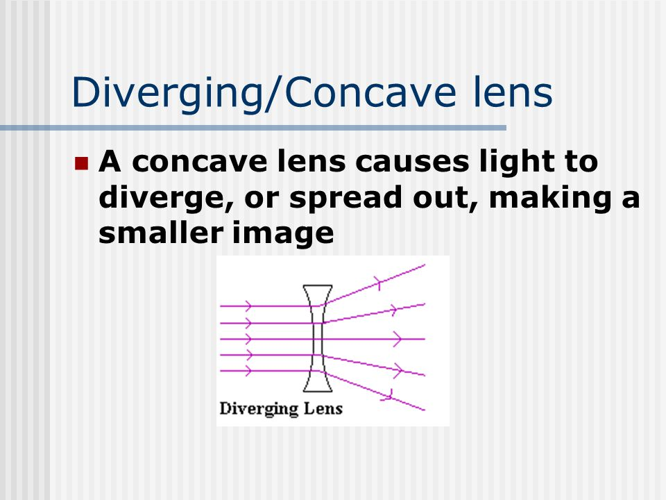 Diverging/Concave lens A concave lens causes light to diverge, or spread out, making a smaller image