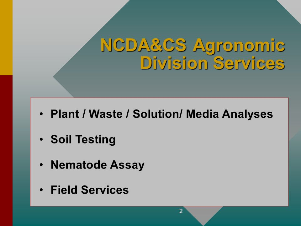 2 NCDA&CS Agronomic Division Services Plant / Waste / Solution/ Media Analyses Soil Testing Nematode Assay Field Services