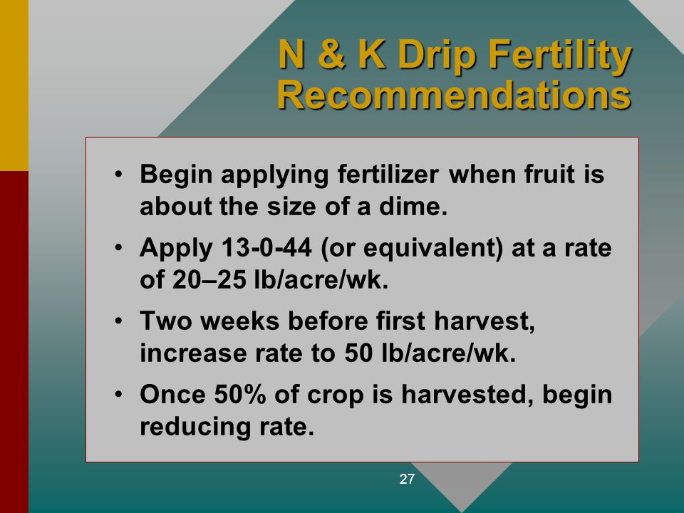 27 N & K Drip Fertility Recommendations Begin applying fertilizer when fruit is about the size of a dime. Apply 13-0-44 (or equivalent) at a rate of 2