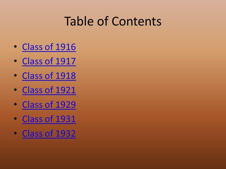 Table of Contents Class of 1916 Class of 1917 Class of 1918 Class of 1921 Class of 1929 Class of 1931 Class of 1932