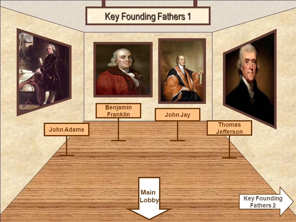 Room 5 Key Founding Fathers 1 Thomas Jefferson Main Lobby Key Founding Fathers 2 John Jay Benjamin Franklin John Adams