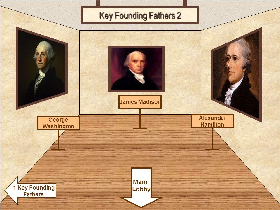 Room 5 Key Founding Fathers 2 Alexander Hamilton Main Lobby 1 Key Founding Fathers James Madison George Washington