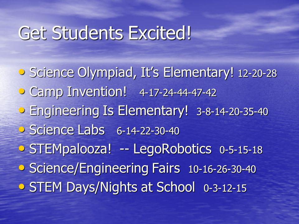 Get Students Excited. Science Olympiad, It's Elementary.