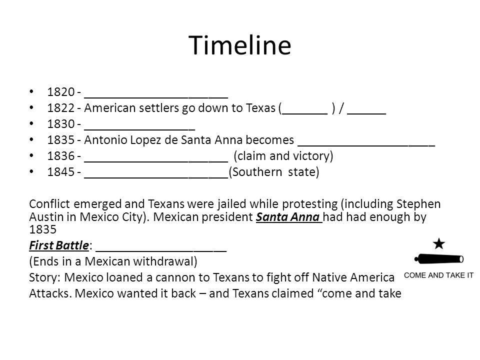 Timeline 1820 - ______________________ 1822 - American settlers go down to Texas (_______ ) / ______ 1830 - _________________ 1835 - Antonio Lopez de