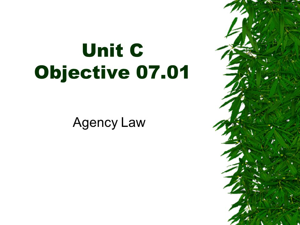 Unit C Objective 07.01 Agency Law