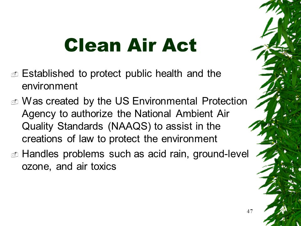 47 Clean Air Act  Established to protect public health and the environment  Was created by the US Environmental Protection Agency to authorize the N