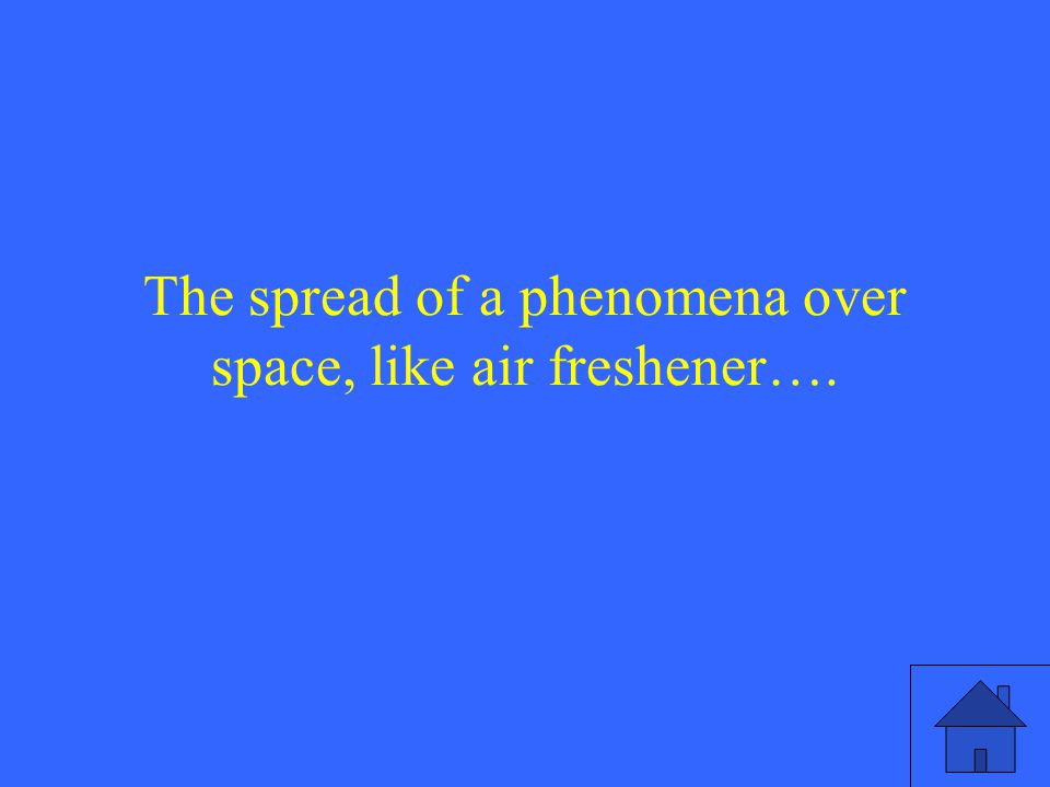 The spread of a phenomena over space, like air freshener….