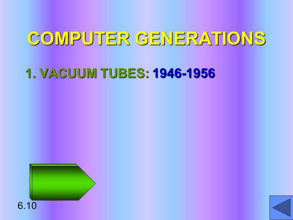 COMPUTER GENERATIONS 1. VACUUM TUBES: 1946-1956 6.10