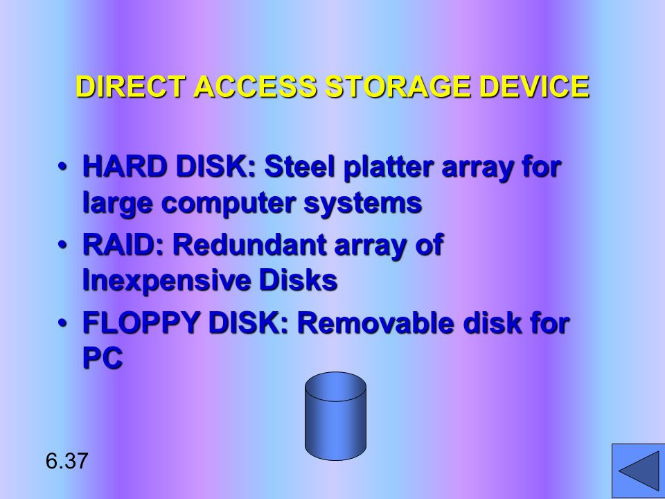 DIRECT ACCESS STORAGE DEVICE HARD DISK: Steel platter array for large computer systemsHARD DISK: Steel platter array for large computer systems RAID: Redundant array of Inexpensive DisksRAID: Redundant array of Inexpensive Disks FLOPPY DISK: Removable disk for PCFLOPPY DISK: Removable disk for PC* 6.37