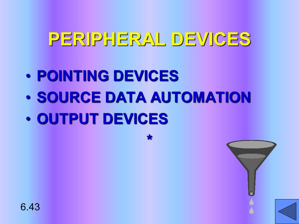 PERIPHERAL DEVICES POINTING DEVICESPOINTING DEVICES SOURCE DATA AUTOMATIONSOURCE DATA AUTOMATION OUTPUT DEVICESOUTPUT DEVICES* 6.43